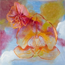 """Orchids"" Oil on canvas, 18"" x 18"""