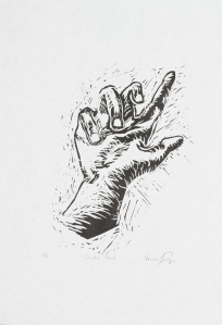 """""""Guided Hand""""   Linocut on paper, 15.25"""" x 10.5"""""""