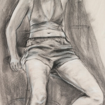 """Freshman"" Charcoal on newspaper, 19"" x 15"" $100"