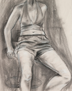 """Freshman""  Charcoal on newspaper, 19"" x 15"""