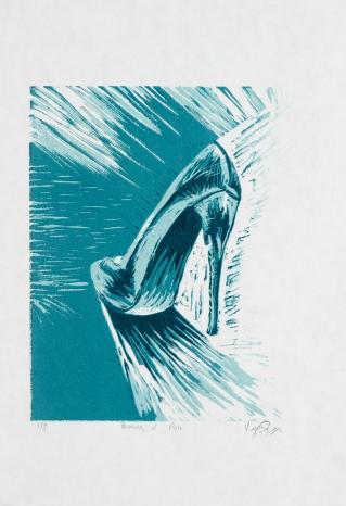 """""""Beauty of Pain"""" Linocut on paper, 15.5"""" x 10.5"""""""