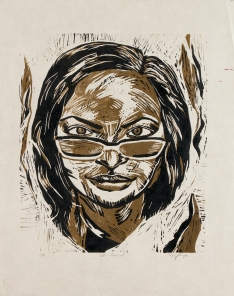 """""""Self Portrait"""" Linocut on kitakata paper, 22.5"""" x 16.5"""""""
