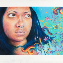 """Revisited Portrait"" Colored pencil on watercolor paper, 22"" x 30"""