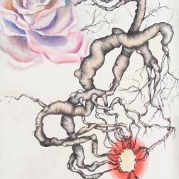 """Under Hormonal Control"" Watercolor pencil, pen on paper, 30"" x 22"""