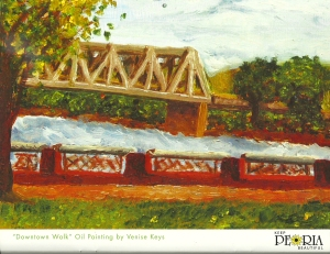 """Down by the Riverfront""Oil on panel, Keep Peoria Beautiful 2011 Calendar"