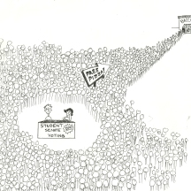 Original cartoon, Bradley University, September 12, 2008