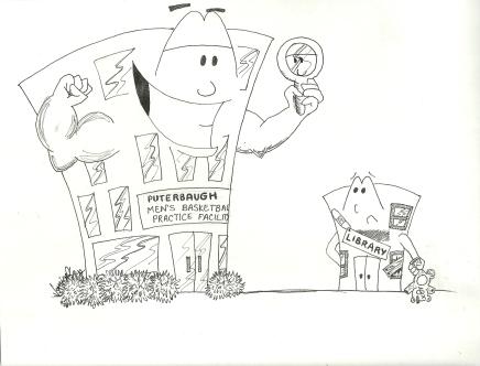 Original cartoon, Bradley University, September 5, 2008