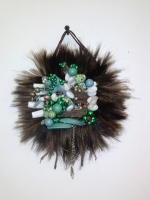 Hair extensions, beads, nail tips, leather cord, found objects