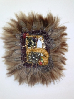 Hair extensions, leather cord, bottle caps, jewelry, beads, found objects