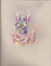 Colored pencil on colored paper