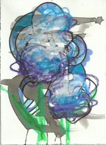 Ink, marker and colored pencil on paper Artist Trading Card 2014