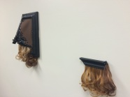 Hair, pony beads, sequins, wood, brown canvas2014