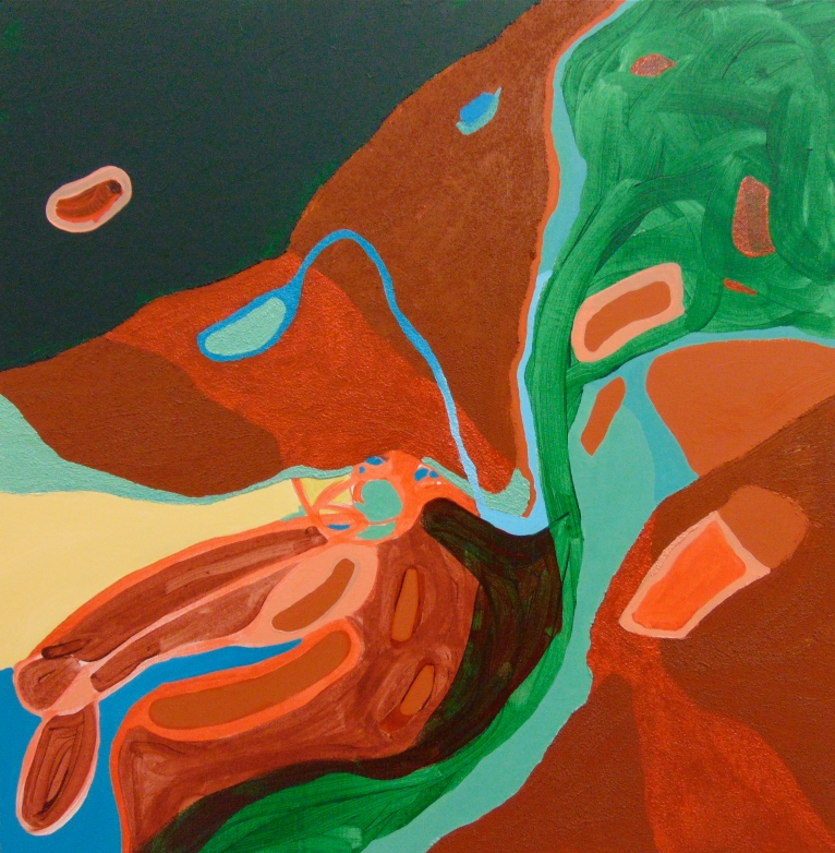 Oil paint, acrylic paint, and glass beads on brown canvas 1.11 x 1.11 feet 2015