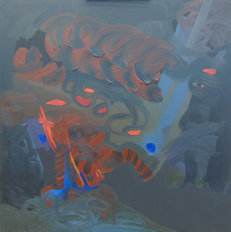 Oil paint and black gesso on brown canvas 3 x 3 feet 2015