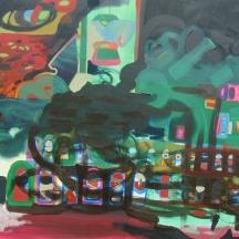 Oil paint, acrylic paint, glass beads on canvas 6 x 5 feet 2014