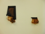 Hair, pony beads, sequins, wood, brown canvas 2014