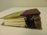 Concertina book Hair, handmade paste paper, screen print, pen, semi-permanent hair dye 2014