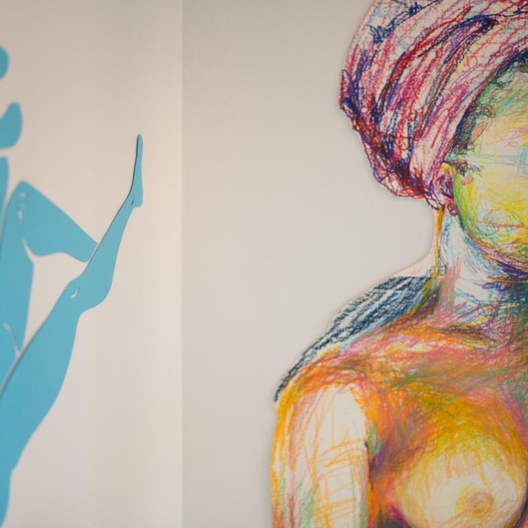 Corner detail of colored pencil self portrait.