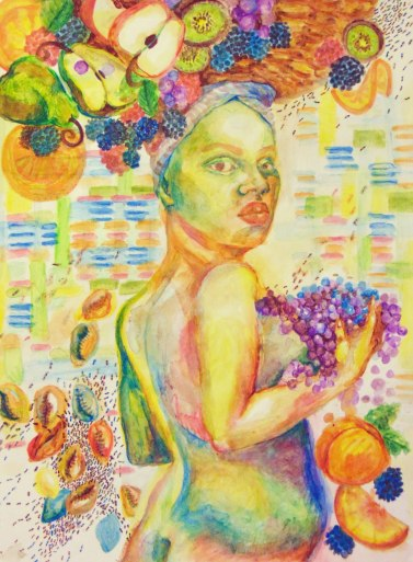 """The Gift of Sebi"" Watercolor pencils 18x24 inches 2018"